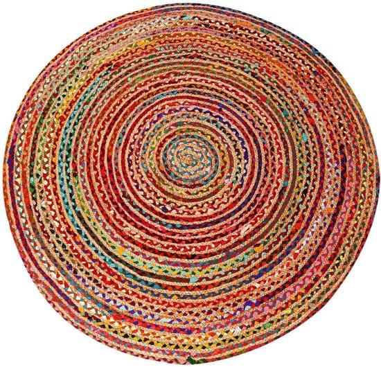 Jute tapijt Tamani kleurrijk Ø 120cm   Tapijtloper in boho-stijl van 100% natuurlijke vezel jute & katoen, handgevlochten