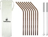 RVS Rietjes Gebogen - Tasteables - Set van 8 - Herbruikbaar - Reinigingsborstel - Rose Goud