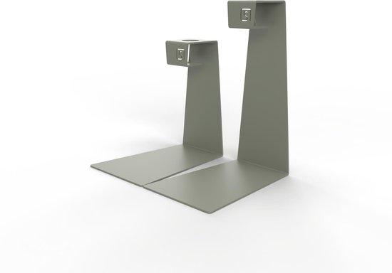 Mono – Kandelaar set – Kaarsenhouder – Metaal – Grijs / Groen
