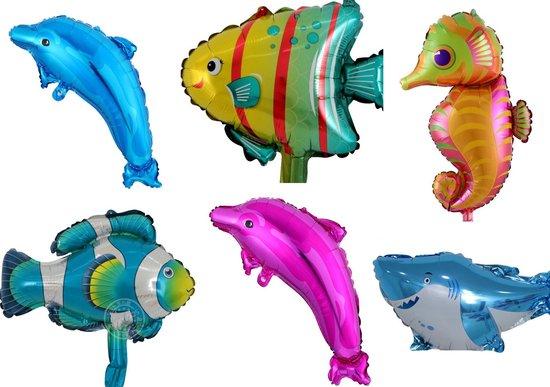 Ballonnen zeedieren - 6 stuks - folie ballonnen - ballon - vis - Nemo - haai - dolfijn - dieren - party - feest - verjaardag - kind