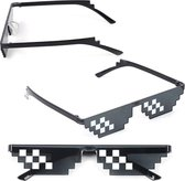 Trendfield Thug Life Zonnebril - Deal With It - 8 Bit Bril - 6 Pixels - UV400 - Zwart