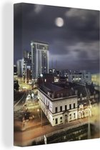 Uitzicht op de Welshe stad Cardiff tijdens de nacht Canvas 60x80 cm - Foto print op Canvas schilderij (Wanddecoratie woonkamer / slaapkamer) / Europese steden Canvas Schilderijen