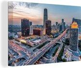 Beijing centrale zakenwijk in de avond Canvas 30x20 cm - klein - Foto print op Canvas schilderij (Wanddecoratie woonkamer / slaapkamer)