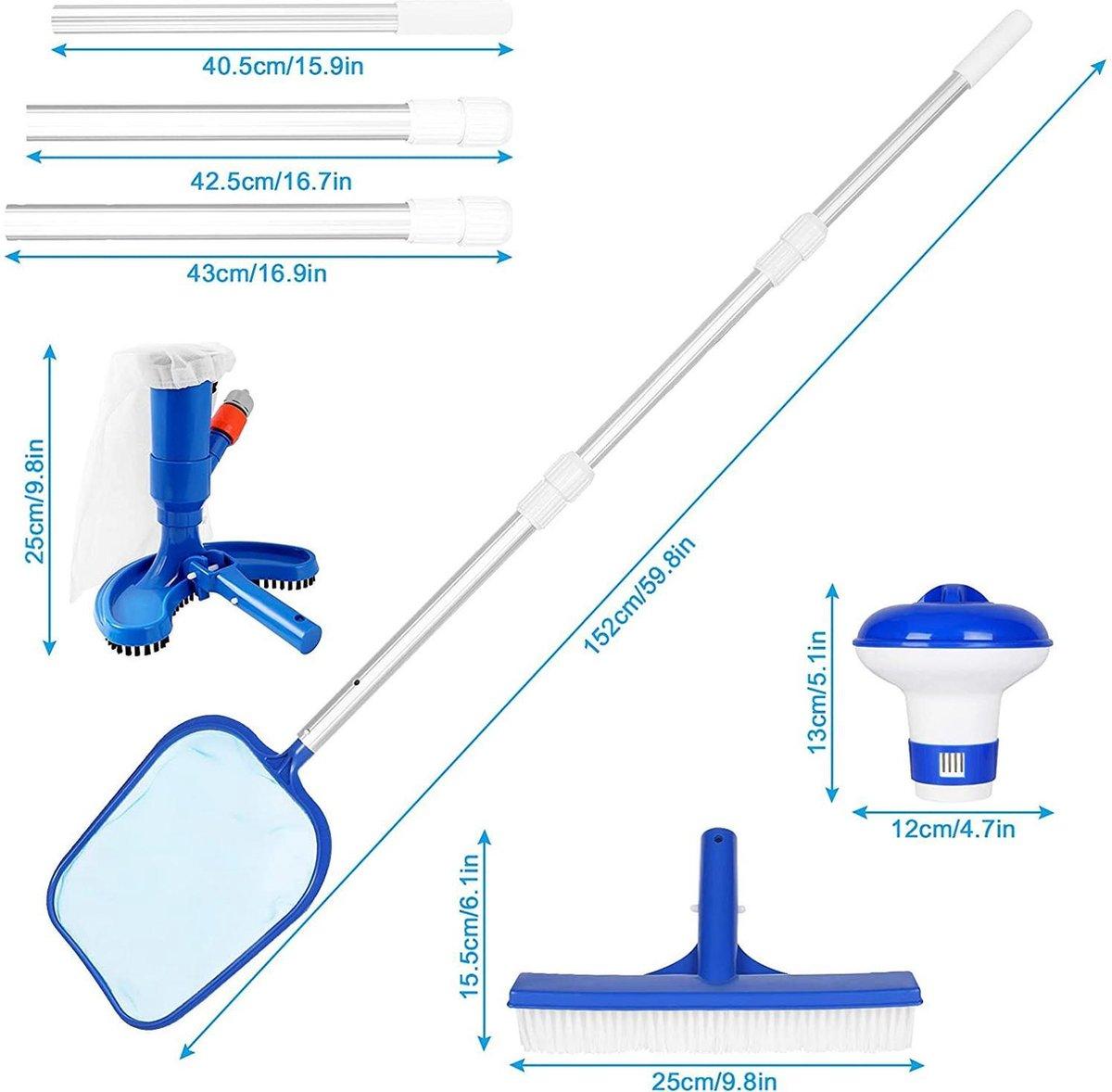Zwembadreiniging Set | 6-delig | Zwembadaccessoires | Zwembad Onderhoud | Blauw | Aluminium | Kunststof