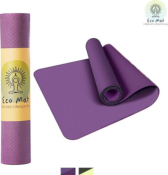 Eco Yoga Mat - Inclusief Draagriem - Anti Slip - Extra Dik (6 mm) - 183 x 61 x 0,6 cm - Paars/Roze - Diverse kleuren