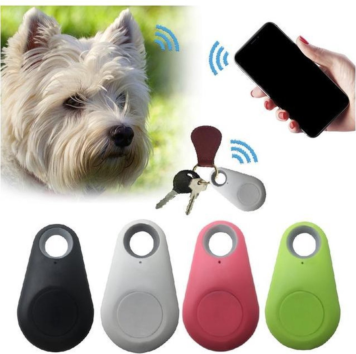 ZORIX®- Gps tracker voor huisdieren/Bagage/Auto/Kind - Met fotofunctie en voice-recorder- zwart/wit kleur