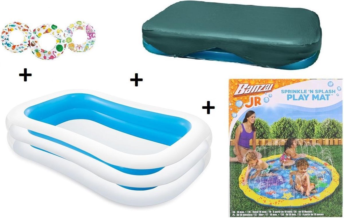 zwembad - zwembad intex afdekzeil - afdekhoes - familie zwembad - opblaasbare zwembad - 262x175x56cm - COMBIDEAL - Sprinkle 'n Splash speelmat - waterspeelmat baby - baby - GRATIS 1x ZWEMRING - Sproeifunctie