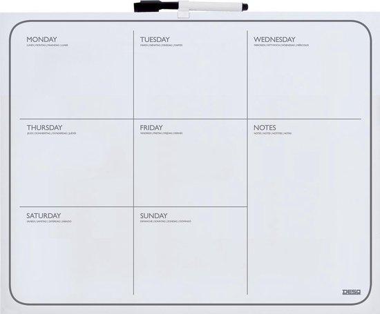 Afbeelding van Desq® Planbord week  | 40 x 50 cm | Randloos | marker magnetisch