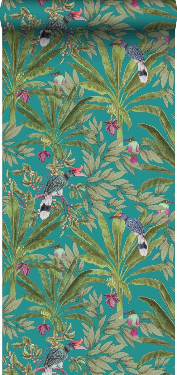 ESTAhome behang tropische jungle bladeren en paradijsvogels petrolblauw en jungle groen - 139233 - 0