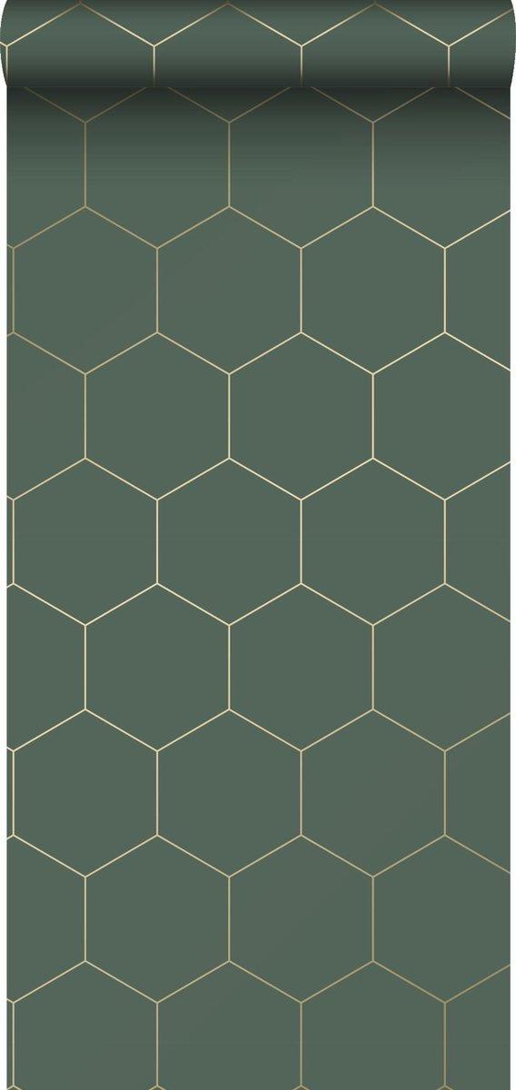 ESTAhome behang hexagon-motief donkergroen en goud - 139228 - 0.53 x 10.05 m