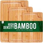 Rochester Bamboe Snijplanken set – Borrelplank – Serveerplank - 3-Delig – Organisch Bamboe – Luxe Design – Hygienisch En Duurzaam