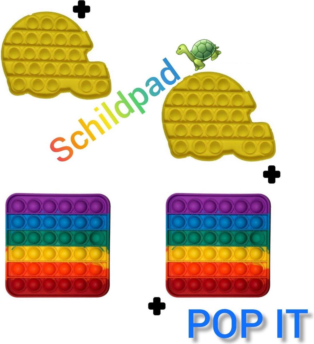 Fidget toys | Pop It pakket van 4 stuks | 2 Rainbow vierkant + 2 Schildpad geel | Meisjes jongens volwassenen _ Anti stress 2021 _ Verjaardag cadeautip _ Leuk voor zwembad