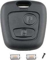 Autosleutelbehuizing 2 knoppen + microschakelaars geschikt voor Toyota Aygo / Citroen C1 C2 C3 / Peugeot 107 307 autosleutel