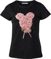 Dames shirt zwart met parelmoer bolletjes | Maat S/M
