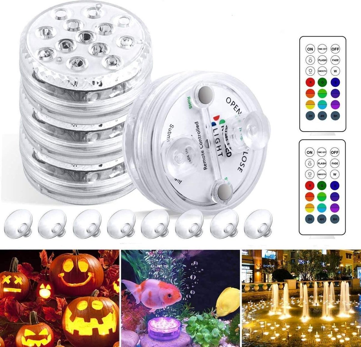 Onderwaterverlichting | Aquariumlamp | Zwembad | 13 Stuks | 16 Kleuren| Geheugenfunctie | Timer | Afstandsbediening | 3 Modi