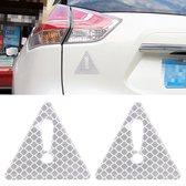 2 STKS Auto-Styling Driehoek Carbon Waarschuwing Sticker Decoratieve Sticker (Wit)