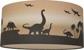 Land of Kids Dino Lamp Jaxx - Dinosaurus Lamp plafond voor de Dino Kamer – Diffuser Sluitplaat – Silhouet lamp Dinosaurussen zwart camel