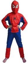 Spiderman Pak - Verkleedpak Jongens - Verkleedkleding - Kinderkostuum - Kind 3-5 jaar - 93-110 - Rood / Blauw
