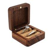 Ringdoos van Hout - Huwelijk - Aanzoek - Sieradendoosje - Bruiloft - Oorbellen doosje - Luxe Ringdoosje - Walnoot hout