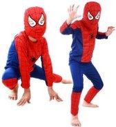 Spiderman Pak - Verkleedpak Jongens - Verkleedkleding - Kinderkostuum - Kind 5-6 jaar - 105-116 - Rood / Blauw