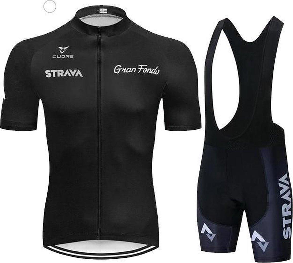 Gran Fondo  - wielerkleding - Grijs - wielerset - maat L - fiets - shirt - wieleroutfit - fietskledi