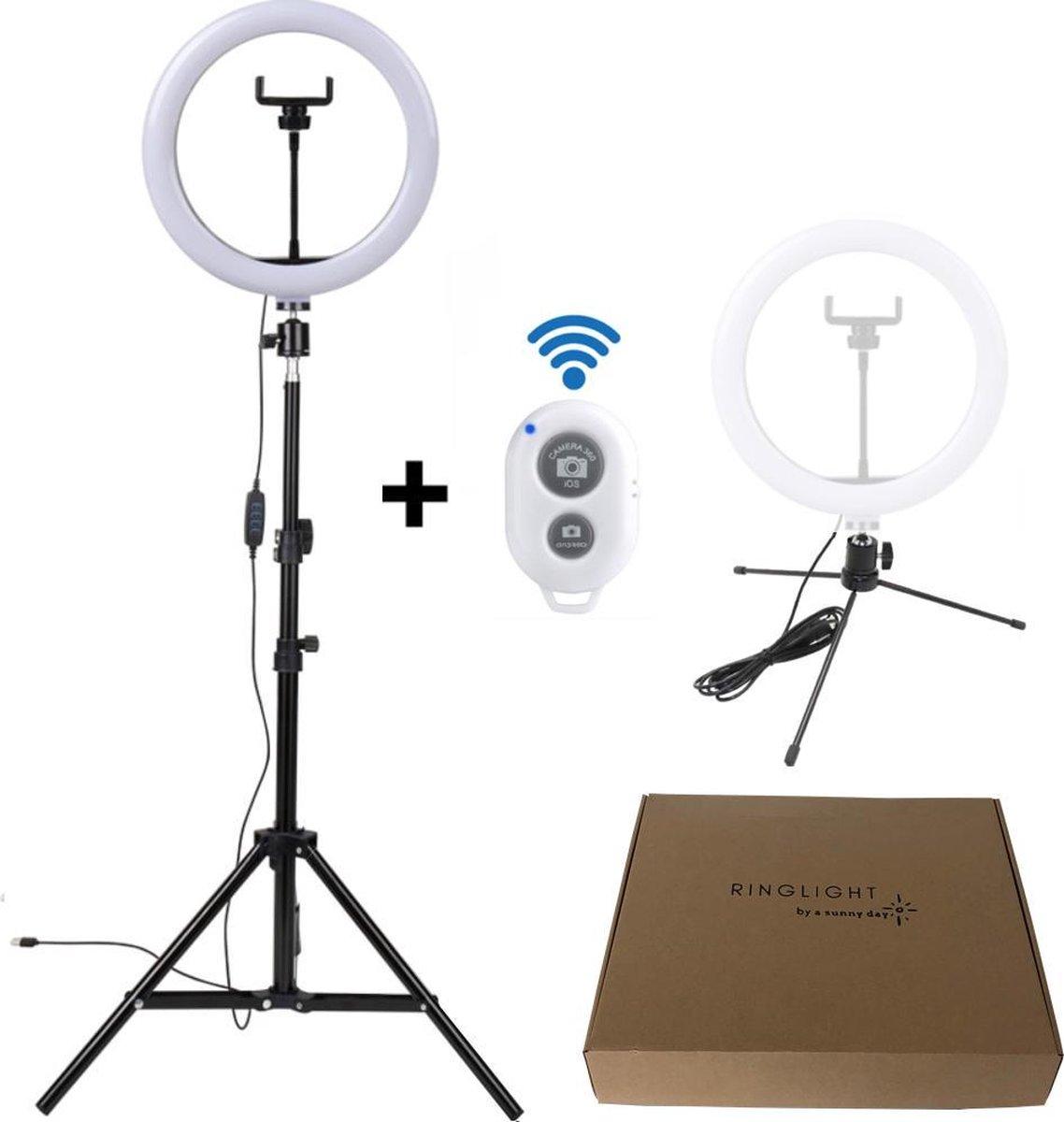 a sunny day ringlamp met statief, telefoonhouder en bluetooth afstandsbediening – LED - 10 inch / 26