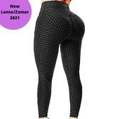 Bodyboil TikTok Legging 2021 - Honingraat Patroon - Anti Cellulite - Sportlegging Dames - Squat Proof Legging - Yoga Pants - TikTok Kleding - Comfortabel - Zwart - L