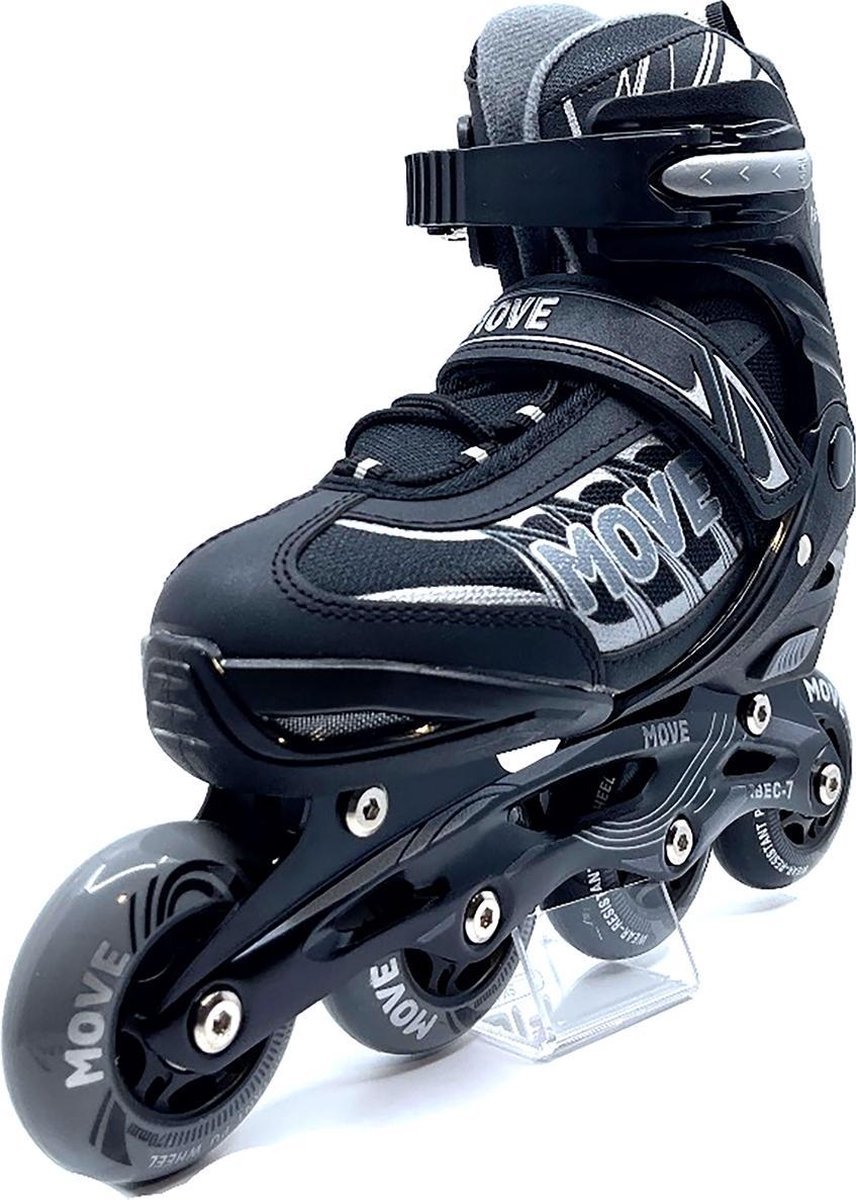 MOVE - Fast Uni - Inline skates voor kind - Zwart - Maat 30-33 - Verstelbaar - Skeelers