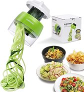 Merkloos - Groente spaghetti snijder klein en handzaam - 4 in 1 spiralizer - julienne snijder - compact formaat van kunstof - weinig opbergruimte - 3 snijbladen in 4 verschillende maten - groente versierder