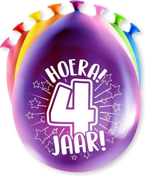 Ballonnen 4 Jaar Hoera 30cm 8st