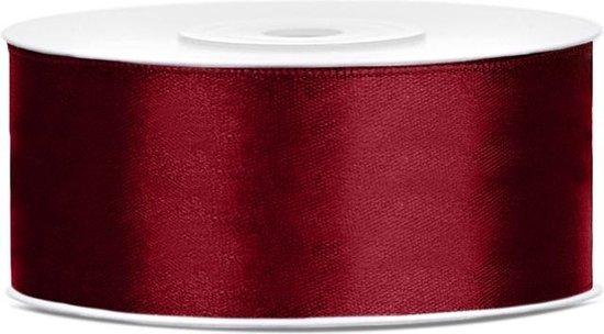 Satijn Lint Bordeaux Rood 25mm 25m