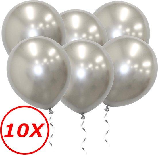 Luxe Chrome Ballonnen Zilver 10 Stuks - Helium Ballonnenset Metallic Silver Feestje Verjaardag Party
