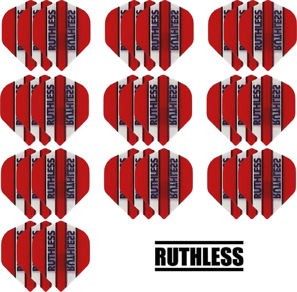 deDartshop 10 Sets (30 stuks) Ruthless flights Multipack - Rood - darts flights