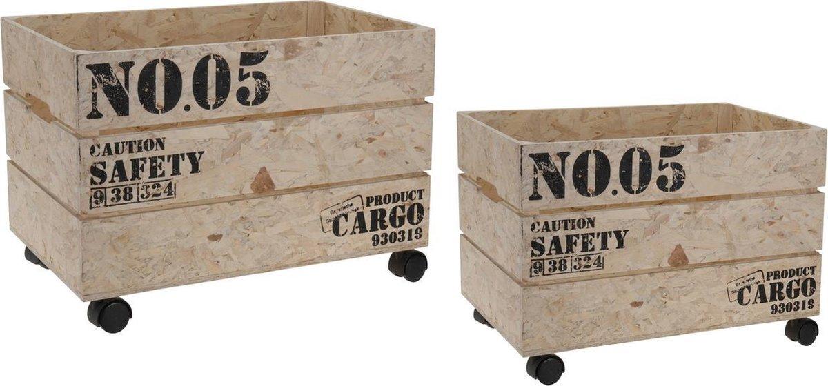 Wonderlijk bol.com | Set houten kisten op wielen GH-25