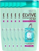 L'Oréal Paris Elvive Extraordinary Clay Shampoo - 6x 250ml - Voordeelverpakking