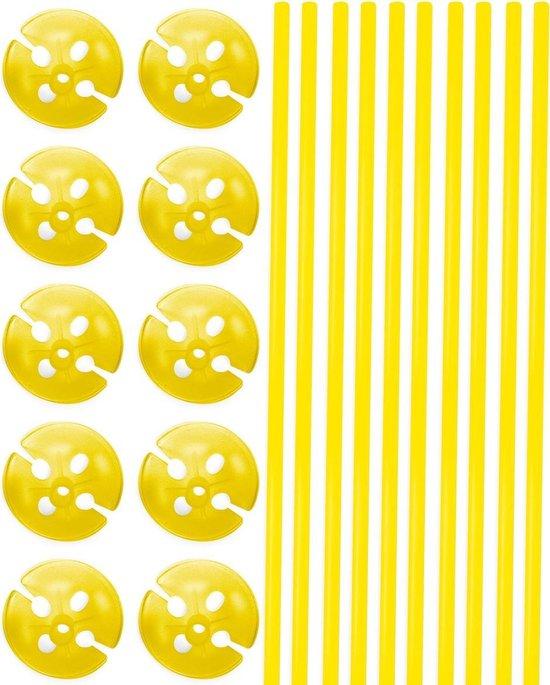 Gele Ballonstokjes met Houders - 10 stuks