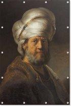 Man in oosterse kleding   Rembrandt van Rijn   1635   Kunst   Tuindoek   Tuindecoratie   60CM x 90CM   Tuinposter   Spandoek   Oude meesters