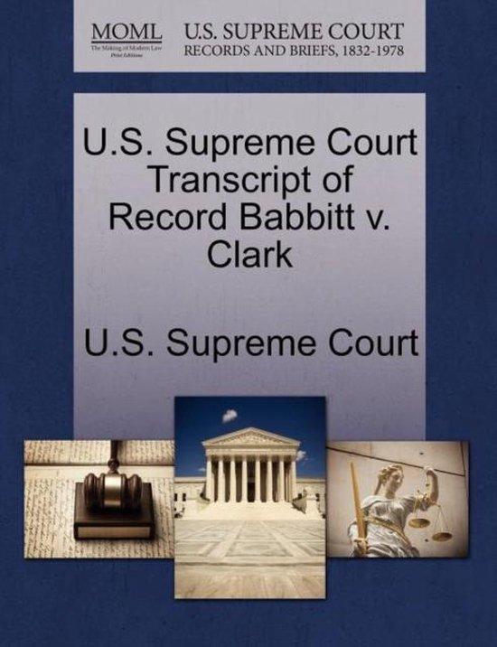 U.S. Supreme Court Transcript of Record Babbitt V. Clark