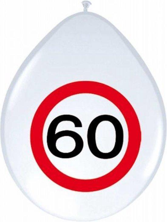 24x stuks Ballonnen 60 jaar verkeersbord versiering