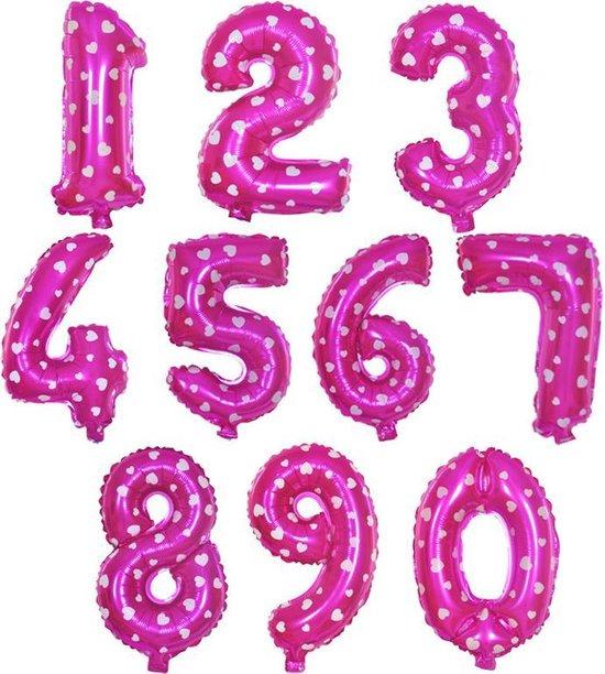 Cijfer ballon 8 roze met hartjes