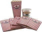 Popcornmaker cadeau set met mais en 5 popcorn bakjes
