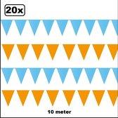 20x Vlaggenlijn oranje en lichtblauw 10 meter
