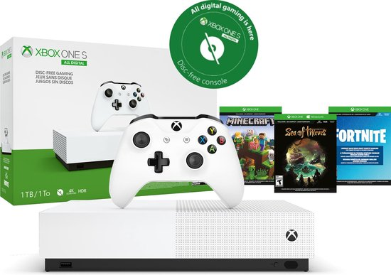 Afbeelding van Xbox One S console 1TB - All-Digital (zonder disc-drive) + Fortnite + Sea of Thieves + Minecraft