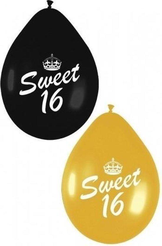 18x Sweet 16 ballonnen zwart/goud