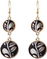 Viva Jewellery oorhangers goudkleurig met zwart/witte velours stof