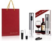 Luxe elektrische wijnopener complete cadeauset | kurkentrekker automatisch | Oplaadbaar Wijnopener | Incl. Cadeautas | Zilver | Verjaardag | Moederdag | Vaderdag | Huwelijk
