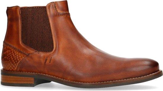Manfield Heren Cognac leren chelsea boots Maat 42