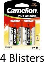 8 Stuks (4 Blisters a 2 st) Camelion Plus Alkaline D Cell Batterij