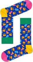 Happy Socks Hamburger Sokken - Blauw/Geel - Maat 41-46