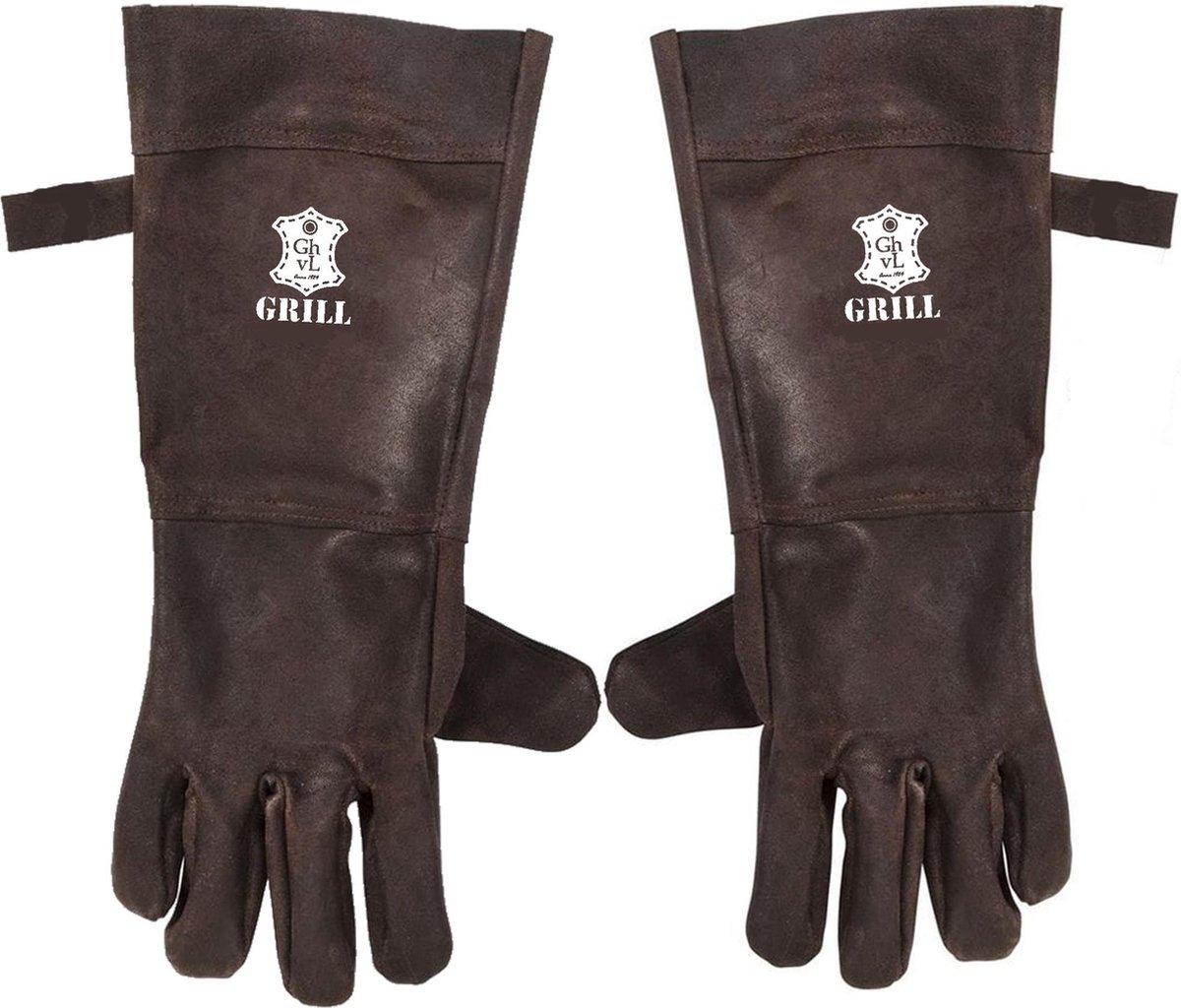 BBQ Leren Handschoenen Donker Bruin   Barbecue Lederen Handschoen   BBQ Handschoenen   Extra groot v